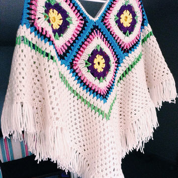 Crocheted Ivory Poncho-Sweater-Granny Square Poncho-Women Tassle Wrap-Crochet Sweater