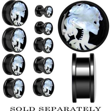 Skeleton Cameo Mother of Pearl Screw Fit Plug in Anodized Black Titanium