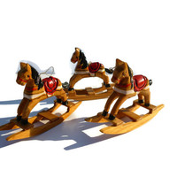 Six Vintage Rocking Horses Christmas Ornament. Wooden Christmas Decoration.