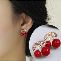 Red Cherry Rhinestone Stud Earrings