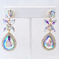 Galaxy Queen Earrings In Iridescent Crystal