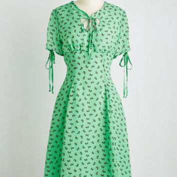 Vintage Inspired Short Sleeves A-line Happy Go Puppy Dress by ModCloth