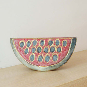 Ceramic watermelon wedge, stoneware high fire sculpture with fired gold, Greek art oblject