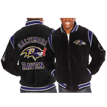 Baltimore Ravens Squeeze Play Suede Jacket – Black
