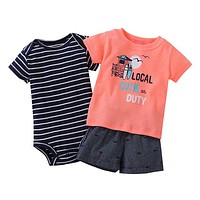 Infant Boys Cutie on Duty 3 Piece Shorts Set