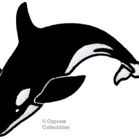 KILLER WHALE PATCH embroidered iron-on porpoise ocean mammal Orca Blackfish