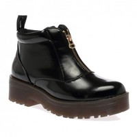 Ariana Black Shine Ankle Boots