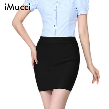 New Spring and Summer Women Skirt High Waist Pencil Skirts Elastic Slim Office Black Mini Short Skirt Plus Size Skirts for Women
