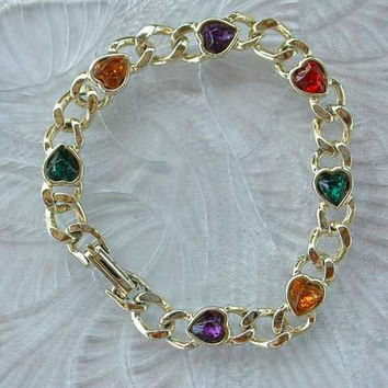 Curb Link Bracelet with Multi-Color Heart Shaped Rhinestones Vintage Sweetheart Jewelry