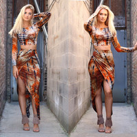 Brown Printed Long Sleeve Crop Top with Asymmetrical Skirt