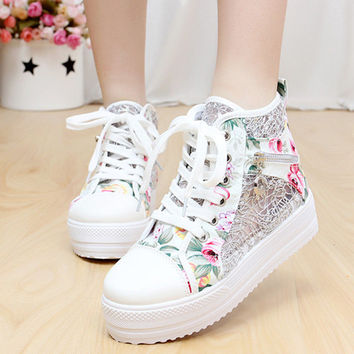 Woman Spring Lace Mesh Casual Shoes Women's Thick Bottom Platform
