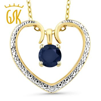 Blue Sapphire 18K Gold Plated Silver Diamond Accent Heart Pendant Necklace