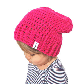 Hot Pink Crochet Slouch Baby Beanie Any Size 0-8 Years Fitted or Slouchy style