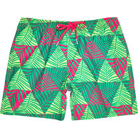 River Island MensGreen Bjorn Fleece palm print swim trunks