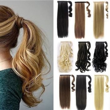 100% Real Clip In human Hair Extension Pony Tail Wrap Around Ponytail