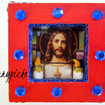 ON SALE - Jesus - Nicho/Retablo/Rosary/Jewelry/Prayer/Trinket Box