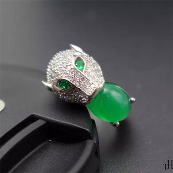 Fashion MAN Ring With Gem Stone 925 solid silver ring for man natural green jade ring for man jewelry birthday gift  promotion