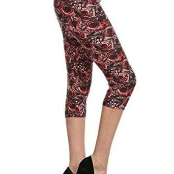 Leggings Depot Womens Butterknit Capri Cropped Printed Leggings Tights Batch18
