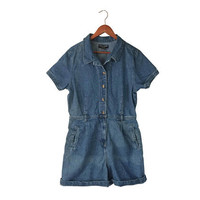 Vintage Denim Romper Shorts XL Women Denim Jumper Women Romper Shorts One Piece Romper One Piece Jumper Dungaree Shorts 90s Romper 1990s
