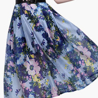 Floral Print High-Waisted Pleated Midi Skirt
