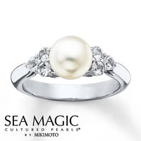 Cultured Pearl Ring Natural White Sapphires Sterling Silver