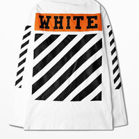 Off White Long Sleeve T Shirt High Street Ulzzang Oblique Stripe Top Tee European Classic Retro Stripes T Shirt Justin Bieber