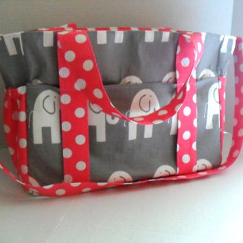 Extra Large  Diaper bag Made of Gray and White Elephant with Pink Polka Dot Fabric / Elastic Pockets