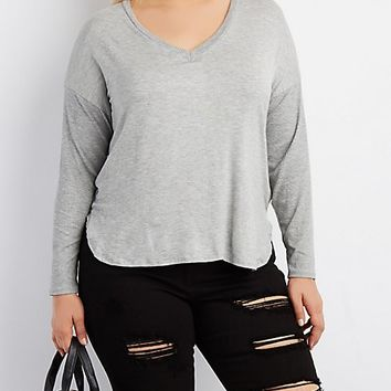Plus Size Ribbed-Trim Dolman Tee