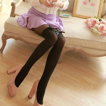 Sexy Black Temptation Women Tights Bow Pantyhose Tattoo Mock Bow Suspender Sheer Lace Nylon Stockings Fishnet Knee High Socks