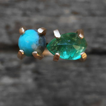 Ready to ship - One of a kind - Emerald and Turquoise Two Stone Ring