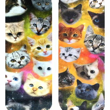 Galaxy Kitty Ankle Socks