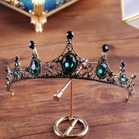 Baroque High-end Green Crystal Vintage Wedding Bridal Crown Cosplay Tiara