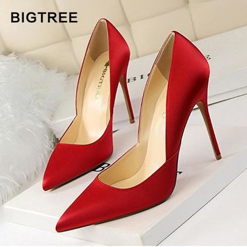 2018 New Arrival  Women High Heels Solid Silk Shallow Women Pumps Sexy Pointed Toe Thin High Heels Shoes Women's Wedding Shoes