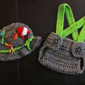 Fisherman Baby Crochet Hat and Diaper Cover with Suspenders - Gone Fishing