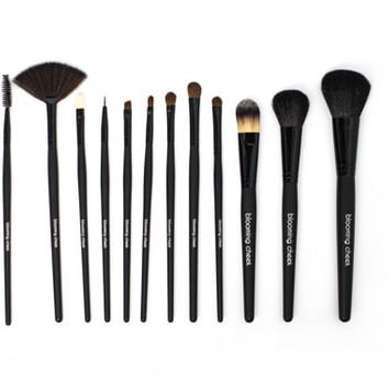 12 Piece Premium Grade Natural & Synthetic Professional Make Up Brushes With Case + Bonus Set Of Tweezers-Black