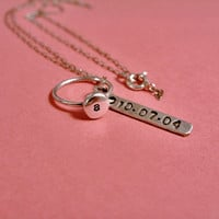 Baby or Child Initial Ring with Personalized Keepsake Mother's Necklace in Sterling Silver
