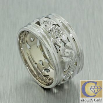 Antique Art Deco 14k Solid White Gold Diamond Filigree Wide Wedding Band Ring