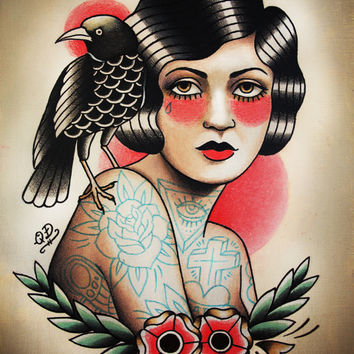 Traditional Tattooed Flapper and Raven Tattoo Art Print