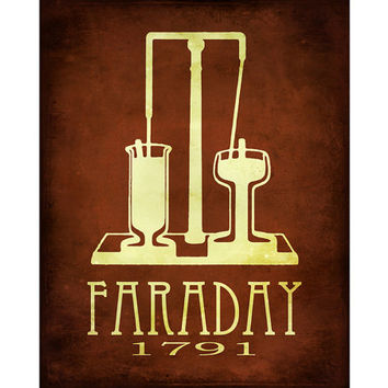 8x10 Steampunk Science Art Michael Faraday Print Rock Star Scientist Technology Posters Magnetism Electricity Geek Chic Smart Dorm Decor