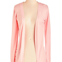 ModCloth Mid-length Long Sleeve Simple Sweetness Cardigan in Petal
