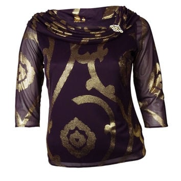 MSK Women's Metallic Drop Shoulder Blouse (L, Plum/Gold)
