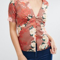 ASOS Japanese Floral Tea Blouse With Seam Detail at asos.com