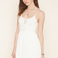 Crochet Lace-Up Mini Dress