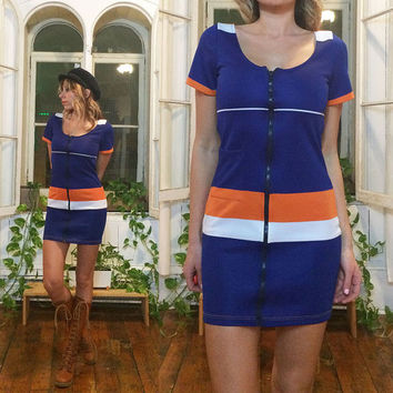 Vintage 1960's 1970's SCOOTER Deadstock Mini Mod Tennis Dress With Front Zipper || Blue Orange White || Size XS to Small