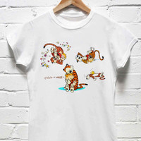 Calvin and Hobbes all tshirt womens and mens heppy feed or sizing.
