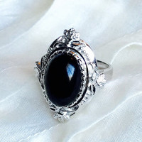 Victorian Onyx Ring in Sterling Silver