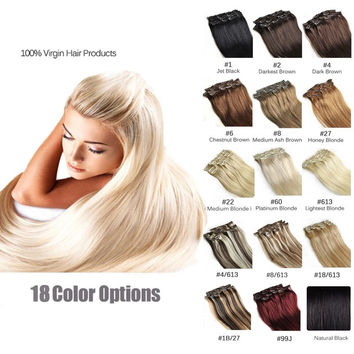 16 Color Available Brazilian Hair Clip In Human Hair Extensions 7pcs Full Head S