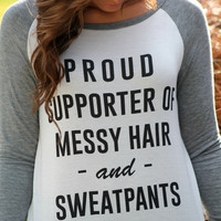 Messy Hair & Sweatpants Top: Ivory/Heather Grey - Off the Racks Boutique