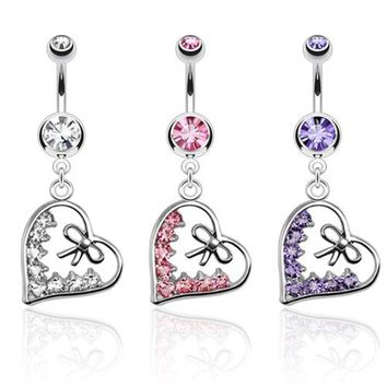 Heart & Bow Belly Ring