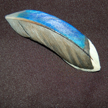 Wooden duck feather, feather brooch, wood carving, mallard duck, speculum feather, wooden brooch, hand carved, birder gift, feather carving